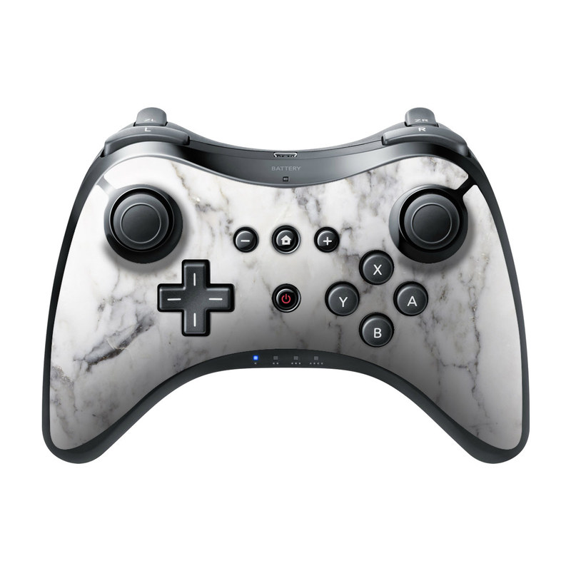 Wii U Pro Controller Skin design of White, Geological phenomenon, Marble, Black-and-white, Freezing with white, black, gray colors