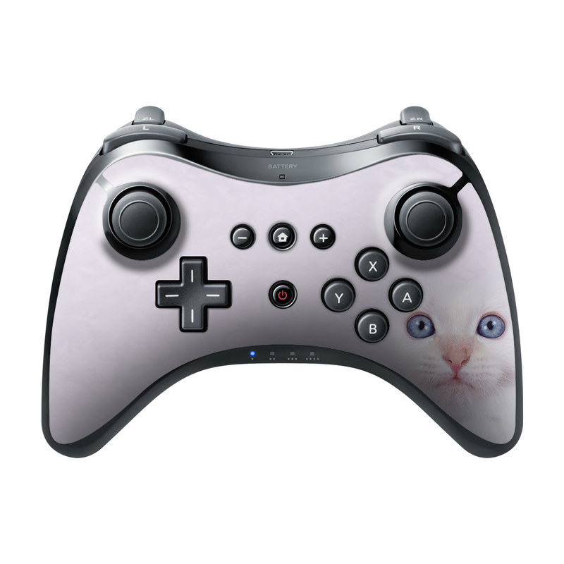 Wii U Pro Controller Skin design of Cat, Whiskers, Face, Nose, Felidae, Small to medium-sized cats, Eye, Skin, Snout, Head with gray, purple, black colors