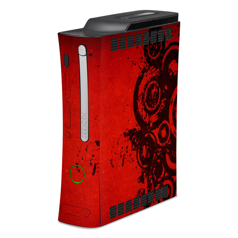 Old Xbox 360 Skin design of Red, Circle, Pattern, Design, Visual arts, Font, Graphics, Graphic design, Art, Still life photography with red, black colors