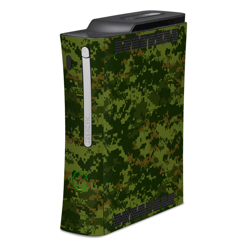 Old Xbox 360 Skin design of Military camouflage, Green, Pattern, Uniform, Camouflage, Clothing, Design, Leaf, Plant with green, brown colors