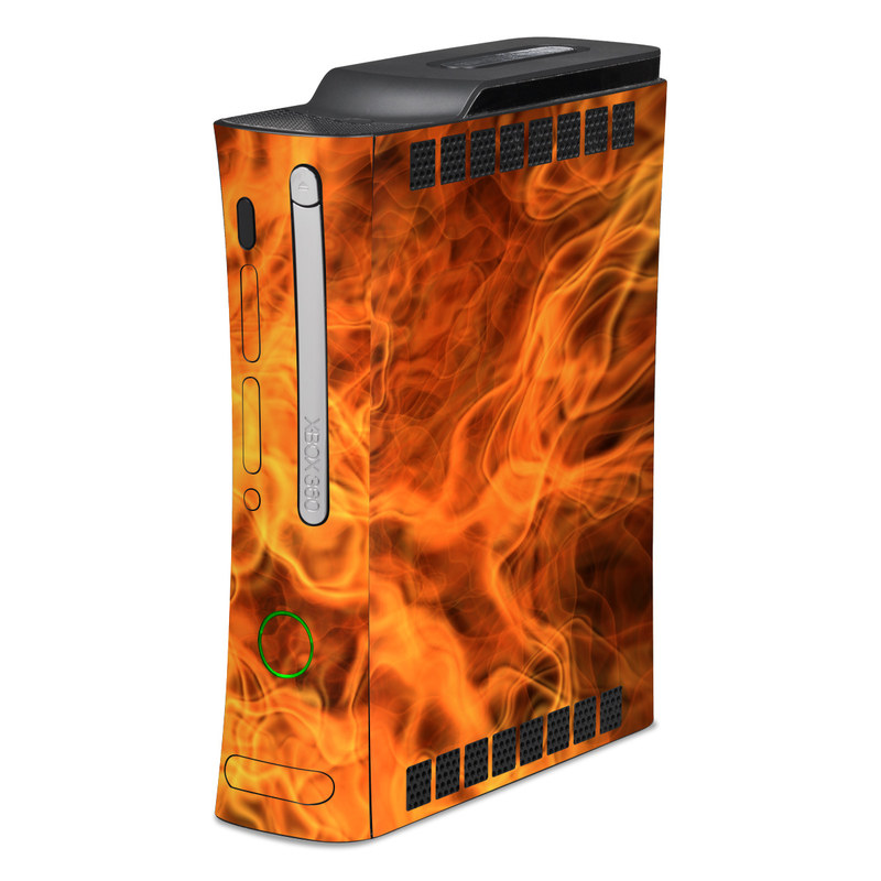 Old Xbox 360 Skin design of Flame, Fire, Heat, Orange with red, orange, black colors