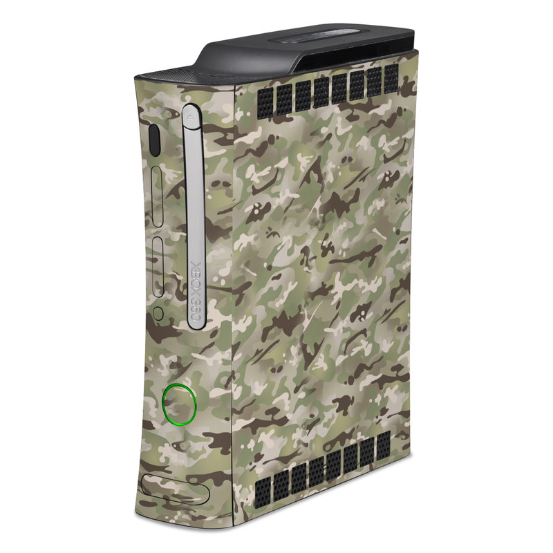 Old Xbox 360 Skin design of Military camouflage, Camouflage, Pattern, Clothing, Uniform, Design, Military uniform, Bed sheet with gray, green, black, red colors