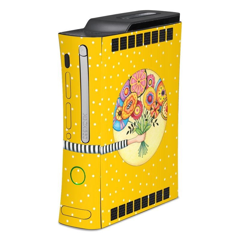 Old Xbox 360 Skin design of Circle, Illustration, Clip art, Plant with orange, yellow, pink, gray, green, black colors