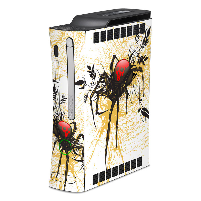 Old Xbox 360 Skin design of Black widow, Widow spider, Spider, Illustration, Graphic design, Tangle-web spider, Art, Fictional character, Graphics, Visual arts with white, pink, black, yellow, gray, green colors