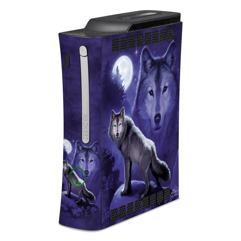 Old Xbox 360 Skin design of Wolf, Canidae, canis lupus tundrarum, Canis, Wolfdog, Dog, Native american indian dog, Wildlife, Sakhalin husky, Moonlight with blue, black, gray colors