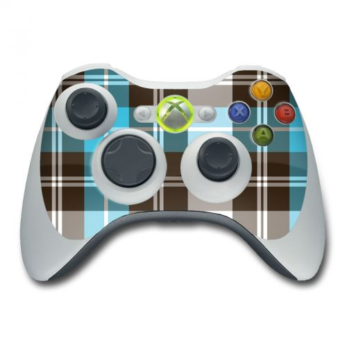 Turquoise Plaid Xbox 360 Controller Skin