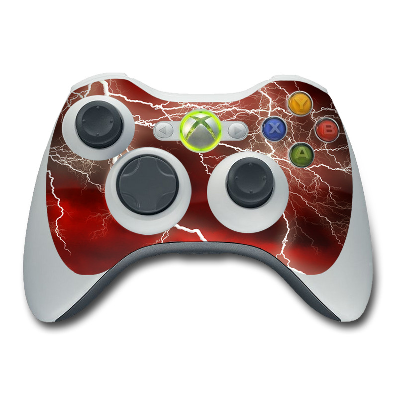 Xbox 360 Controller Skin design of Thunder, Thunderstorm, Lightning, Red, Nature, Sky, Atmosphere, Geological phenomenon, Lighting, Atmospheric phenomenon with red, black, white colors