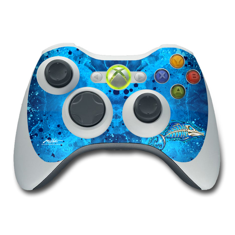 Xbox 360 Controller Skin design of Blue, Water, Aqua, Electric blue, Illustration, Graphic design, Liquid, Graphics, Marine biology, Art with blue, white colors