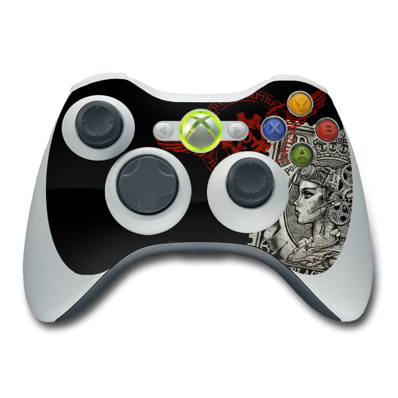 Xbox 360 Controller Skin design of Font, Postage stamp, Illustration, Drawing, Art with black, gray, red colors