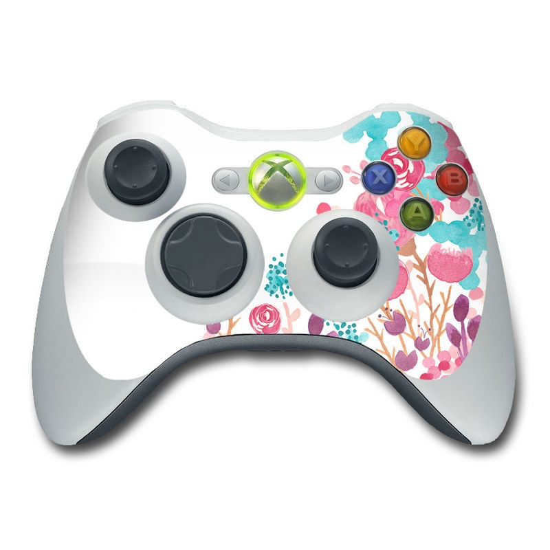 Xbox 360 Controller Skin design of Pink, Pattern, Design, Illustration, Clip art, Plant, Graphics, Art with white, pink, purple, blue, red colors
