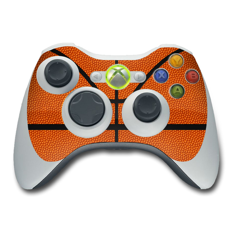 Xbox 360 Controller Skin design of Orange, Basketball, Line, Pattern, Sport venue, Brown, Yellow, Design, Net, Team sport with orange, black colors