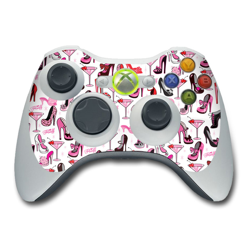 Xbox 360 Controller Skin design of Pink, Footwear, High heels, Clip art, Line, Font, Design, Shoe, Graphics with white, pink, black, red colors