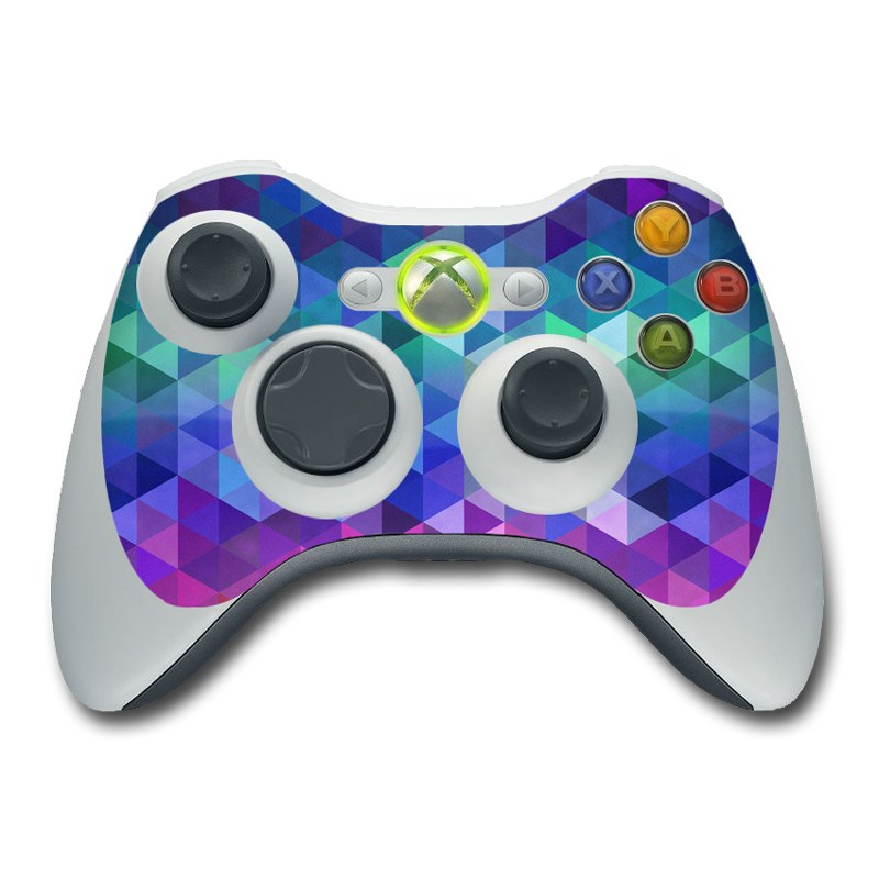 Xbox 360 Controller Skin design of Purple, Violet, Pattern, Blue, Magenta, Triangle, Line, Design, Graphic design, Symmetry with blue, purple, green, red, pink colors