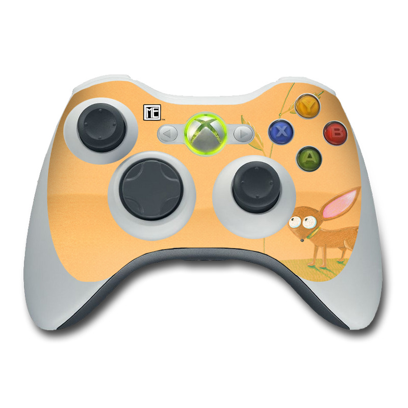 Xbox 360 Controller Skin design of Illustration, Botany, Plant, Flower, Wildflower, Fawn, Art, Wildlife, Drawing with orange, green, pink, yellow, brown colors