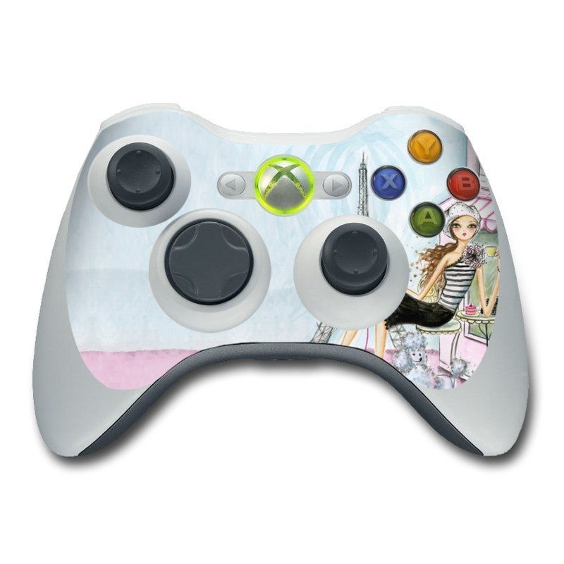 Xbox 360 Controller Skin design of Pink, Illustration, Sitting, Konghou, Watercolor paint, Fashion illustration, Art, Drawing, Style with gray, purple, blue, black, pink colors