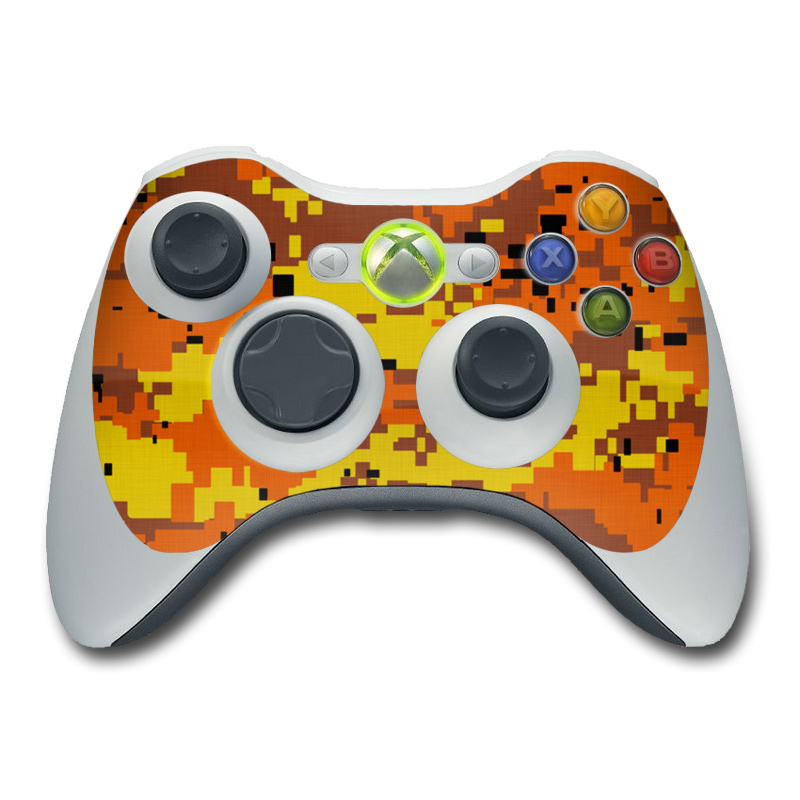 Xbox 360 Controller Skin design of Orange, Yellow, Leaf, Tree, Pattern, Autumn, Plant, Deciduous with red, green, black colors