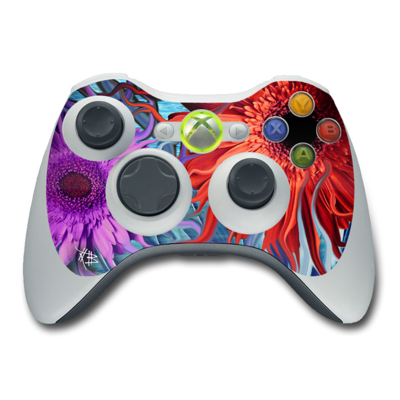Xbox 360 Controller Skin design of Psychedelic art, Pattern, Organism, Colorfulness, Art, Flower, Petal, Design, Fractal art, Electric blue with red, black, blue, purple, gray colors