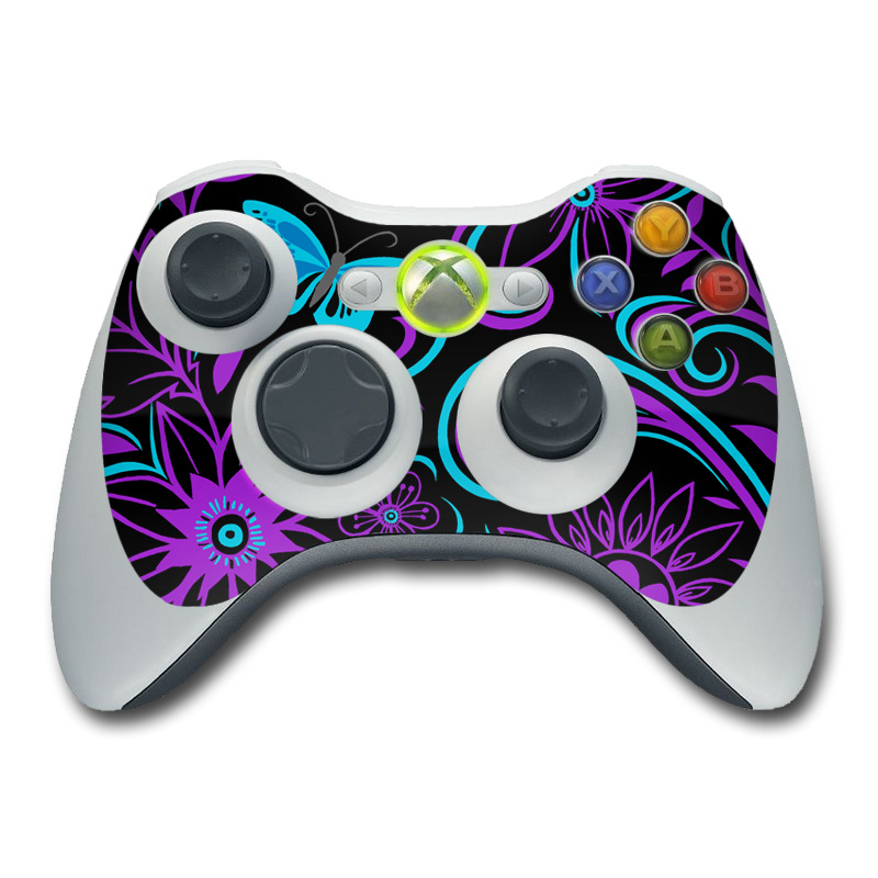 Xbox 360 Controller Skin design of Pattern, Purple, Violet, Turquoise, Teal, Design, Floral design, Visual arts, Magenta, Motif with black, purple, blue colors
