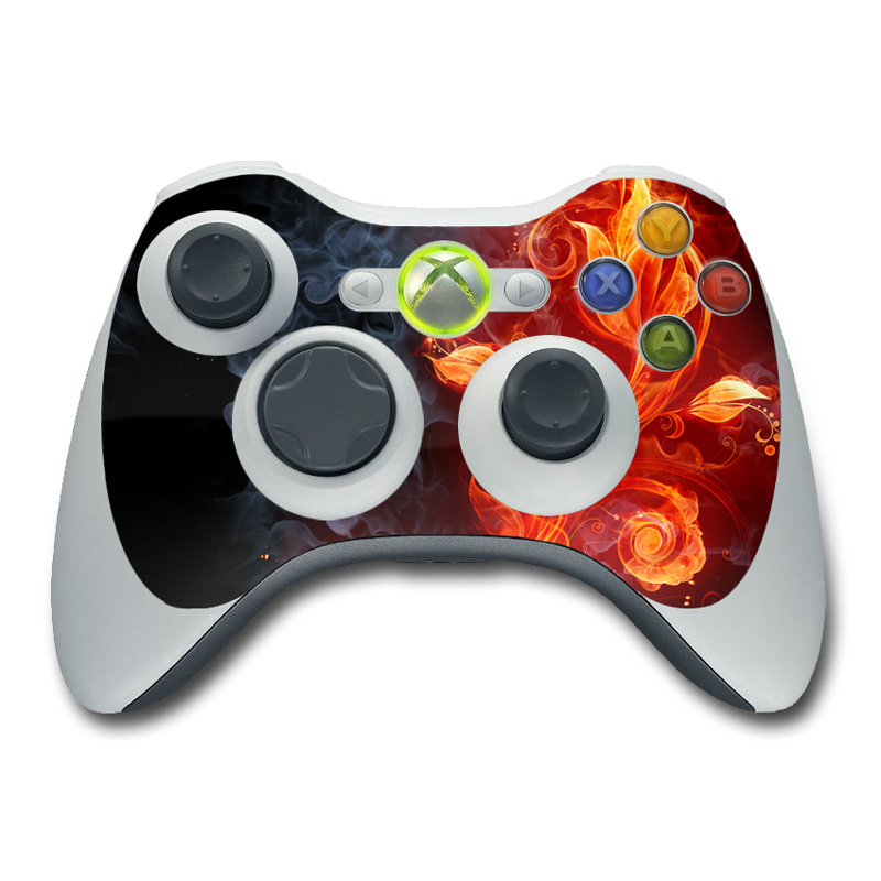 Xbox 360 Controller Skin design of Flame, Fire, Heat, Red, Orange, Fractal art, Graphic design, Geological phenomenon, Design, Organism with black, red, orange colors