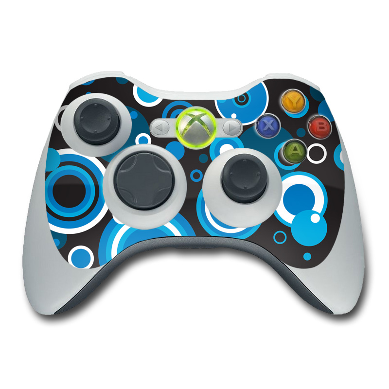 Xbox 360 Controller Skin design of Blue, Circle, Pattern, Aqua, Turquoise, Design, Font, Electric blue, Organism, Graphic design with black, blue, white, gray colors