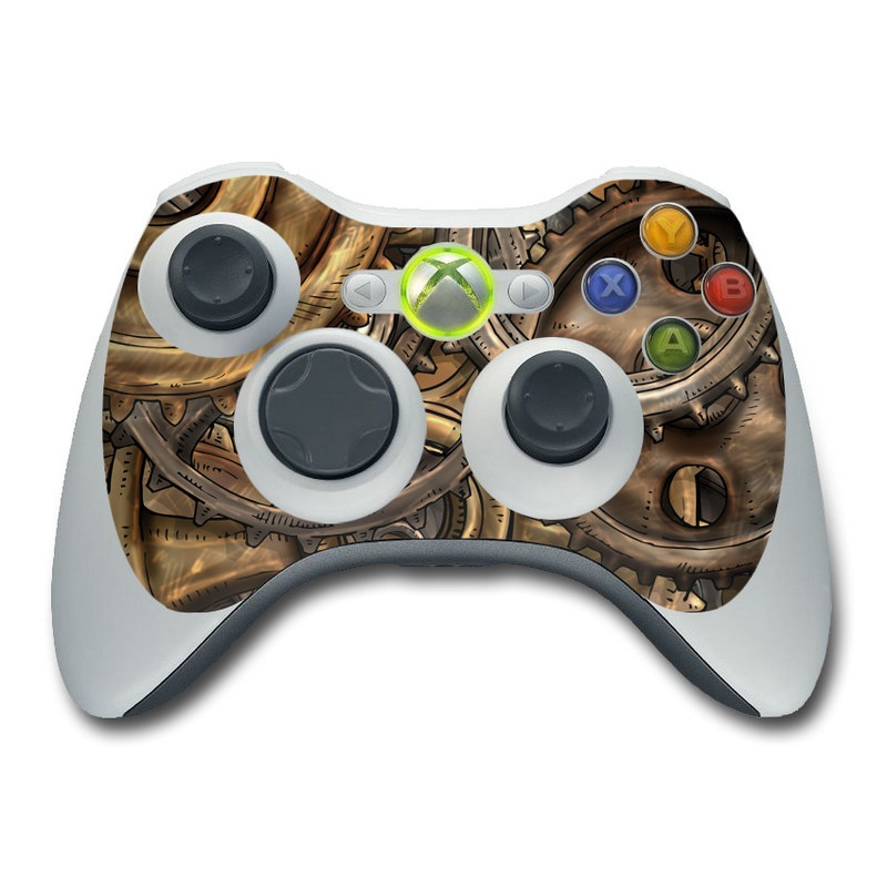 Xbox 360 Controller Skin design of Metal, Auto part, Bronze, Brass, Copper with black, red, green, gray colors