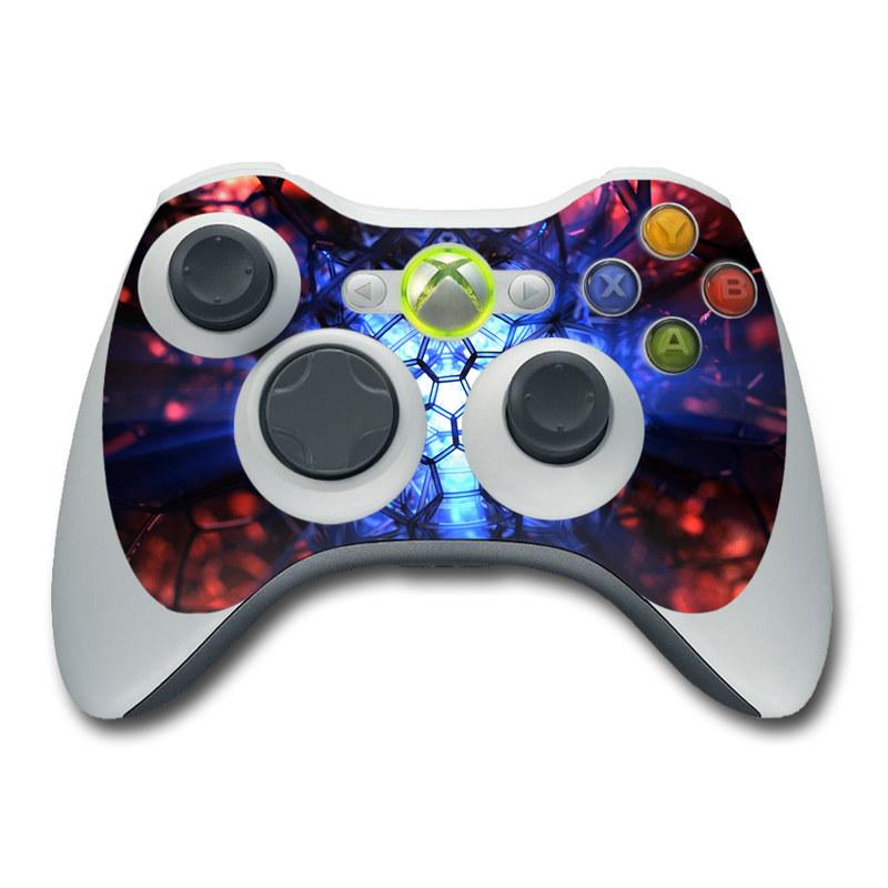 Xbox 360 Controller Skin design of Blue, Fractal art, Red, Light, Pattern, Lighting, Art, Kaleidoscope, Design, Psychedelic art with black, blue, red colors
