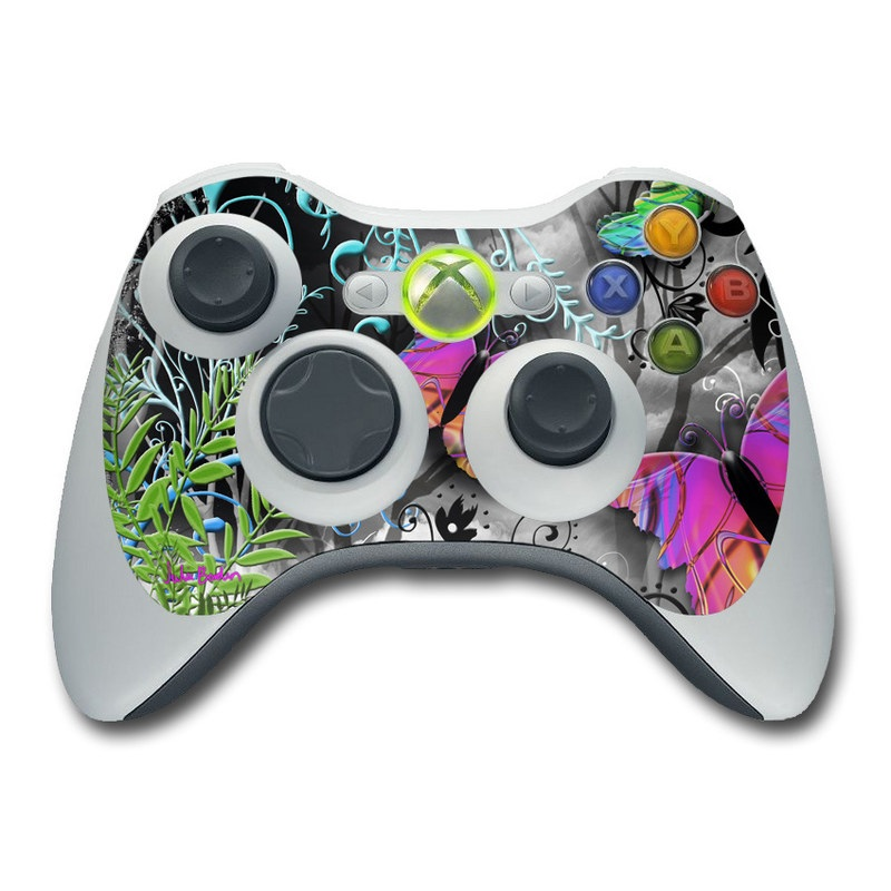Xbox 360 Controller Skin design of Butterfly, Pink, Purple, Violet, Organism, Spring, Moths and butterflies, Botany, Plant, Leaf with black, gray, green, purple, red colors
