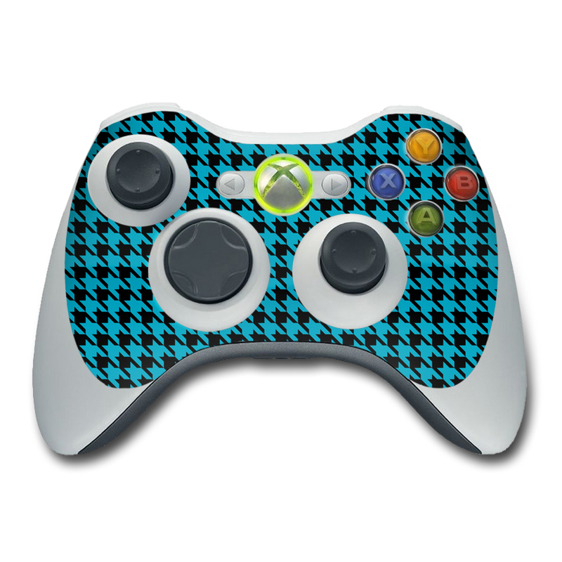 Xbox 360 Controller Skin design of Blue, Pattern, Green, Turquoise, Aqua, Teal, Line, Design, Woven fabric, Electric blue with black, blue colors
