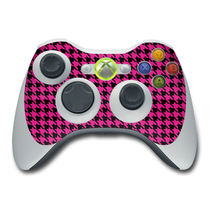 Pink Houndstooth Xbox 360 Controller Skin