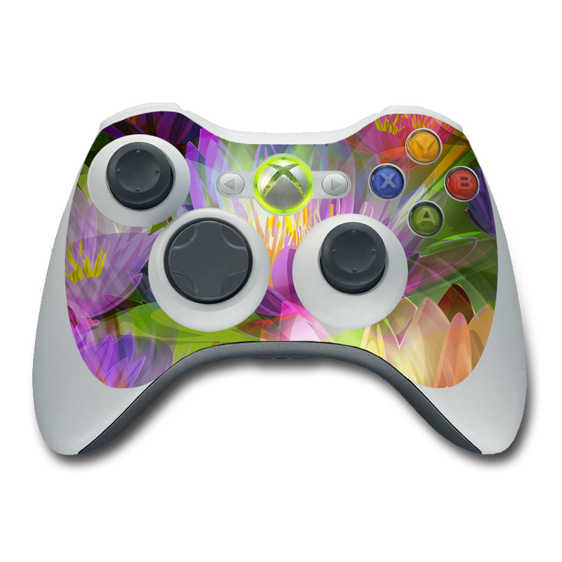 Xbox 360 Controller Skin design of Flowering plant, Flower, Petal, Violet, Aquatic plant, Purple, water lily, Plant, Botany, Close-up with gray, green, black, purple, red colors