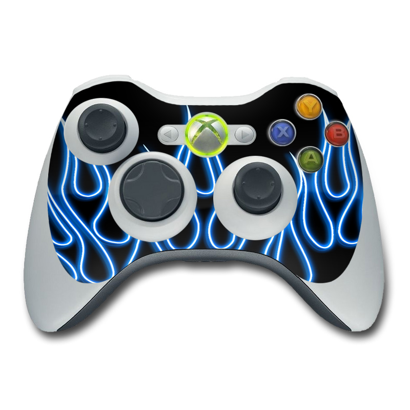 Blue Neon Flames Xbox 360 Controller Skin