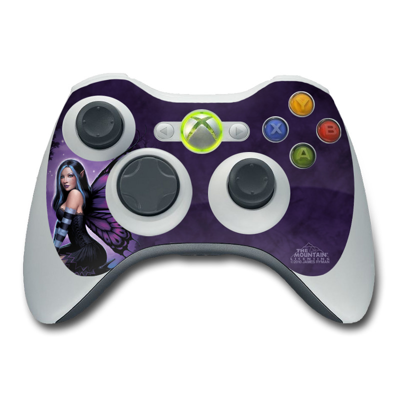 Xbox 360 Controller Skin design of Cg artwork, Purple, Violet, Fictional character, Mythical creature, Wing, Angel, Supernatural creature, Illustration, Woman warrior with black, blue, purple, gray colors