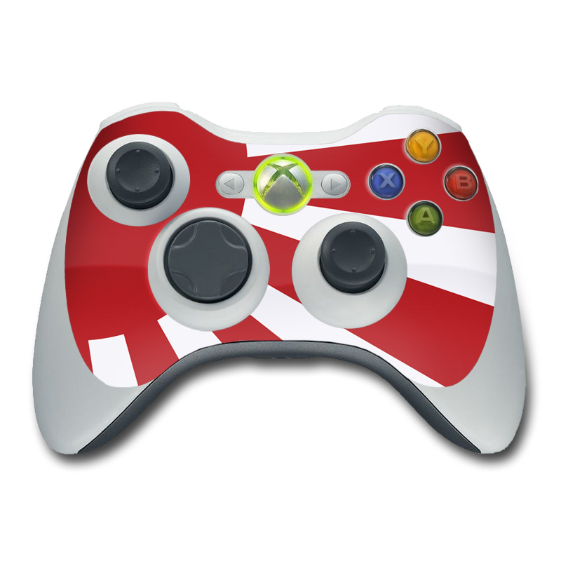 Xbox 360 Controller Skin design of Red, Line, Flag, Pattern, Graphic design, Graphics, Clip art with red, white, gray colors