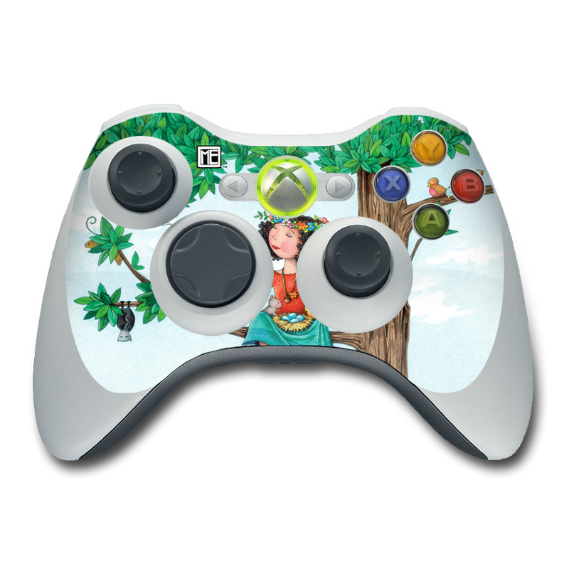 Xbox 360 Controller Skin design of Cartoon, Illustration, Branch, Bird, Owl, Tree, Art, Plant, Clip art, Fictional character with blue, gray, red, black, white, green colors