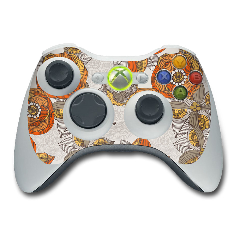 Orange and Grey Flowers Xbox 360 Controller Skin