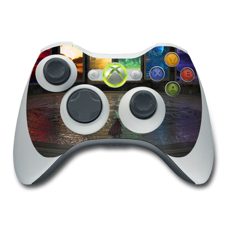 Xbox 360 Controller Skin design of Light, Lighting, Water, Sky, Technology, Night, Art, Geological phenomenon, Electronic device, Glass with black, red, green, blue colors