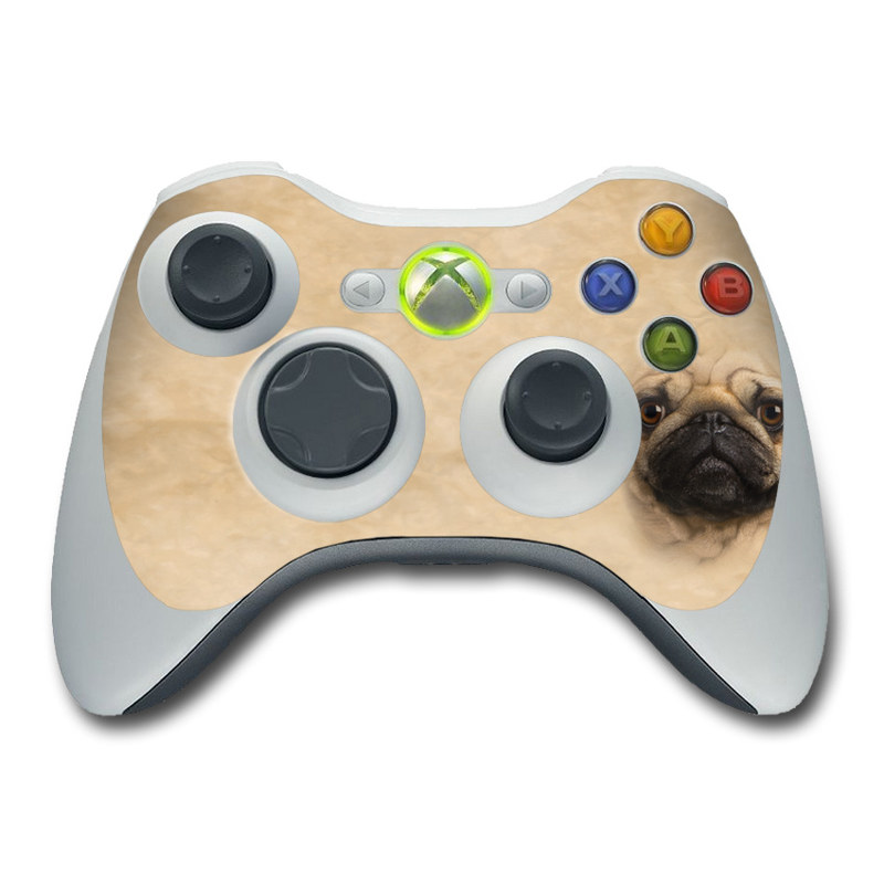 Xbox 360 Controller Skin design of Pug, Dog, Canidae, Skin, Snout, Nose, Wrinkle, Dog breed, Eye, Companion dog with gray, black, green, red colors