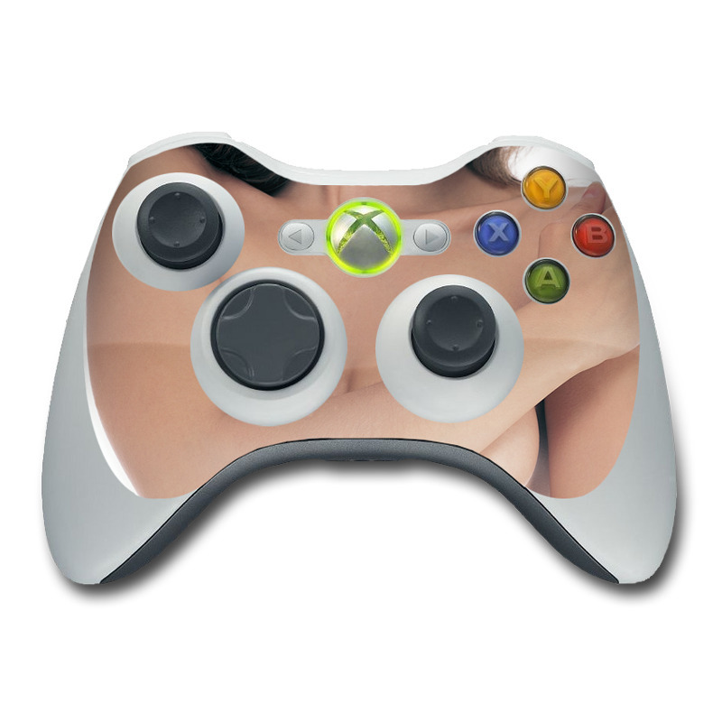 Xbox 360 Controller Skin design of Skin, Shoulder, Neck, Arm, Joint, Beauty, Muscle, Chest, Close-up, Hand with white, yellow, black, brown colors