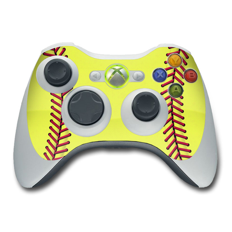 Xbox 360 Controller Skin design of Yellow, Line, Parallel with green, red, black colors