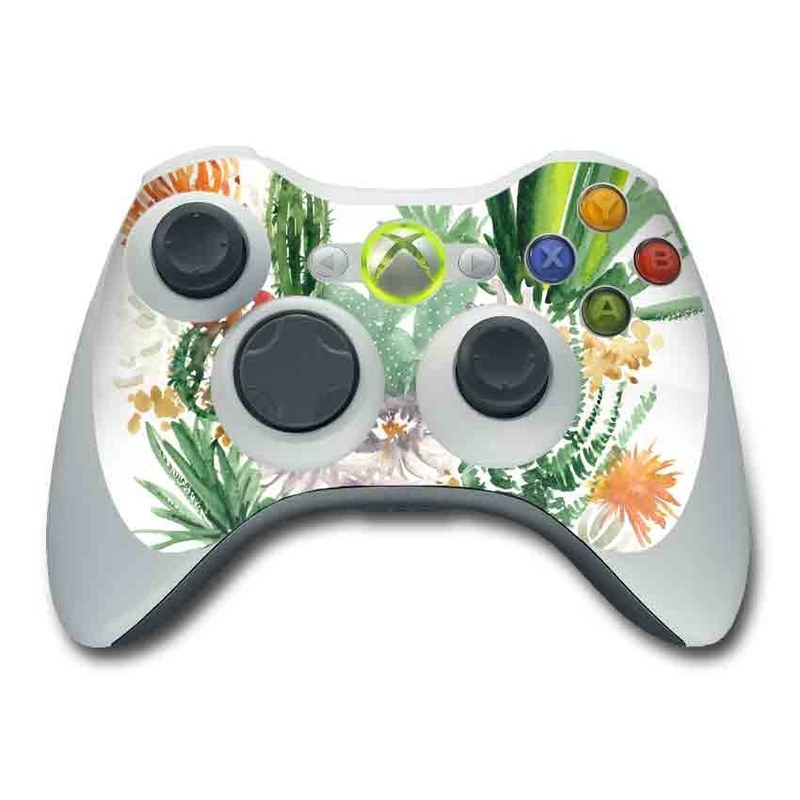Xbox 360 Controller Skin design of Cactus, Plant, Flower, Botany, Leaf, Illustration, Pine, Grass, Succulent plant, Branch with white, green, red, orange colors