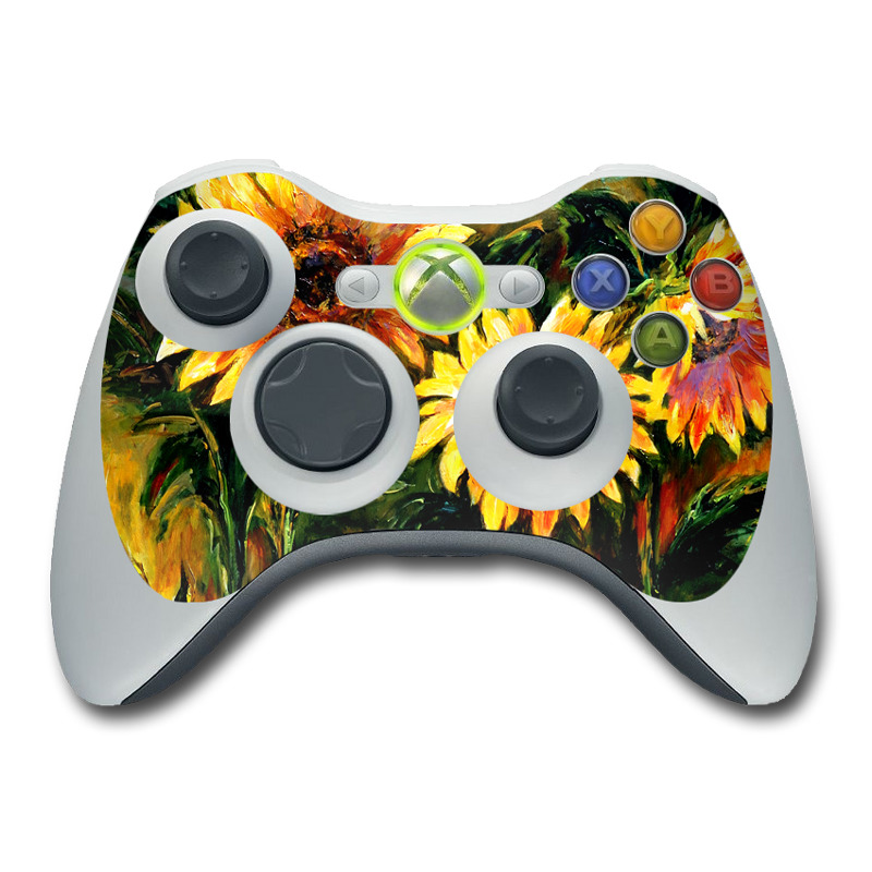 Xbox 360 Controller Skin design of Flower, Sunflower, Painting, Yellow, Plant, sunflower, Gazania, Flowering plant, Watercolor paint, Still life with black, orange, red, green, yellow, pink colors