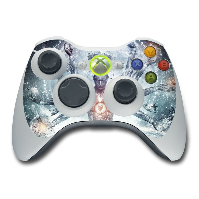 Xbox 360 Controller Skin design of Mythology, Cg artwork, Water, Illustration, Fictional character, Space, Graphics, Art, Graphic design with blue, red, orange, black, white colors