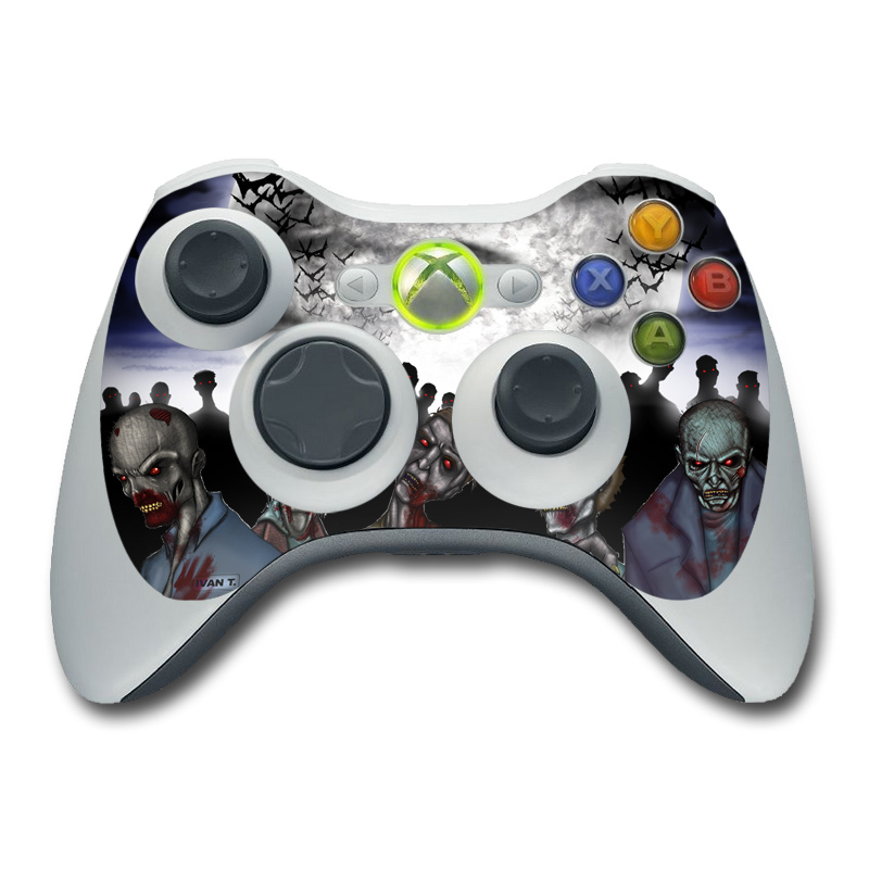 Xbox 360 Controller Skin design of Zombie, Fictional character, Fiction, Crowd, Illustration, Art, Screenshot with black, gray, white, blue colors