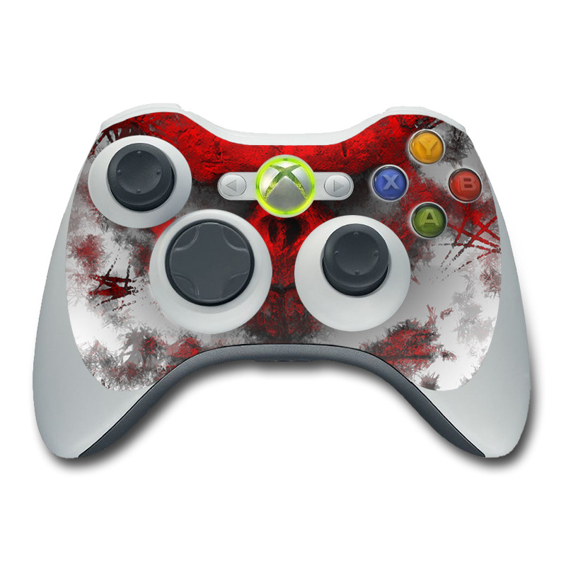 Xbox 360 Controller Skin design of Red, Graphic design, Skull, Illustration, Bone, Graphics, Art, Fictional character with red, gray, black, white colors