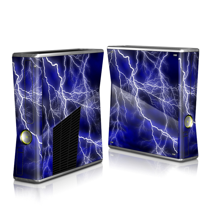 Xbox 360 S Skin design of Thunder, Lightning, Thunderstorm, Sky, Nature, Electric blue, Atmosphere, Daytime, Blue, Atmospheric phenomenon with blue, black, white colors