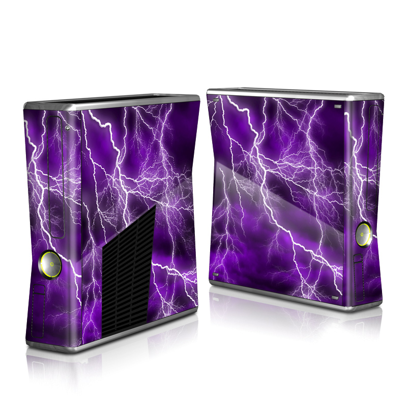 Xbox 360 S Skin design of Thunder, Lightning, Thunderstorm, Sky, Nature, Purple, Violet, Atmosphere, Storm, Electric blue with purple, black, white colors