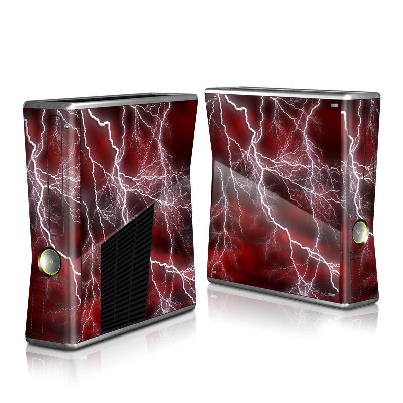 Xbox 360 S Skin design of Thunder, Thunderstorm, Lightning, Red, Nature, Sky, Atmosphere, Geological phenomenon, Lighting, Atmospheric phenomenon with red, black, white colors