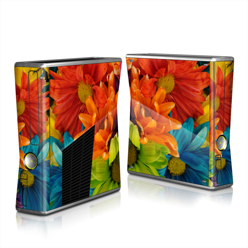 Xbox 360 S Skin design of Flower, Petal, Orange, Cut flowers, Yellow, Plant, Bouquet, Floral design, Flowering plant, Gerbera with red, green, black, blue colors