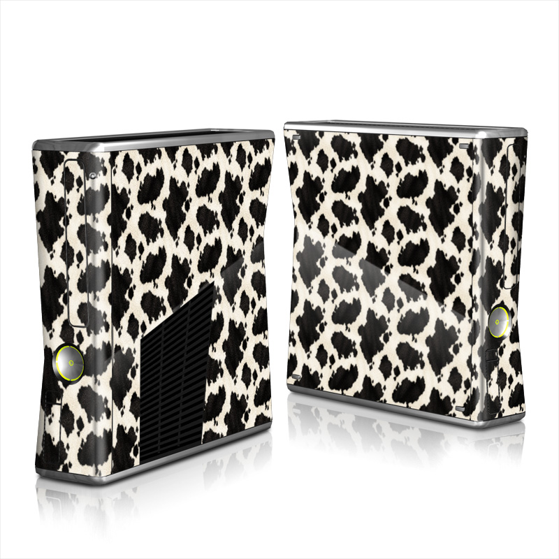 Xbox 360 S Skin design of Black, Fur, Textile, Pattern, Hide, Fawn with black, white colors