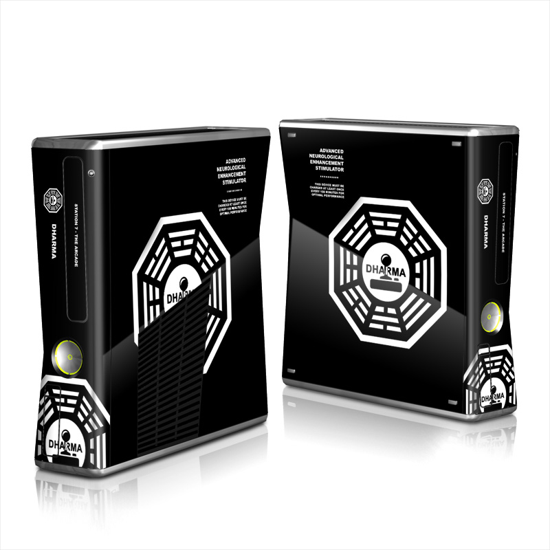 Xbox 360 S Skin design of White, Black, Logo, Symmetry, Emblem, Font, Pattern, Graphic design, Design, Symbol with black, white, gray colors